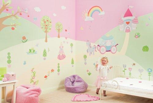 FunToSee Zimmerdekorations-Set Prinzessin, entfernbare Sticker, 66-teilig, Pastelltöne/Pinktöne