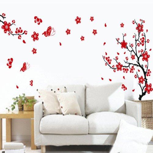 BestOfferBuy Pflaumen Blumen Schmetterlinge Wandsticker Wanddekor