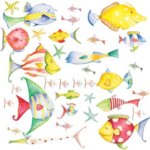 RoomMates RMK1179SCS Wandsticker Unterwasserwelt- Krake, Seestern, Fische- kindgerecht