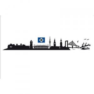 alenio 9845 - alenio Wandtattoo - HSV Hamburg Skyline mit Logo, 2x 60x20 cm
