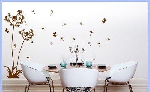 Wandtattoo Pusteblume Blume 2er Set mit Graßfläche und Schmetterlinge (Braun 080, 140cm und 180cm)