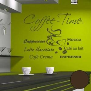 """A610 Wandtattoo """"Coffee Time"""" 108cm x 80cm braun (erhältlich in 40 Farben und 4 Größen)"""