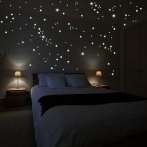 """Wandkings Wandsticker """"250 Stück Leuchtpunkte für Sternenhimmel"""" Fluoreszierend & im Dunkeln leuchtend"""