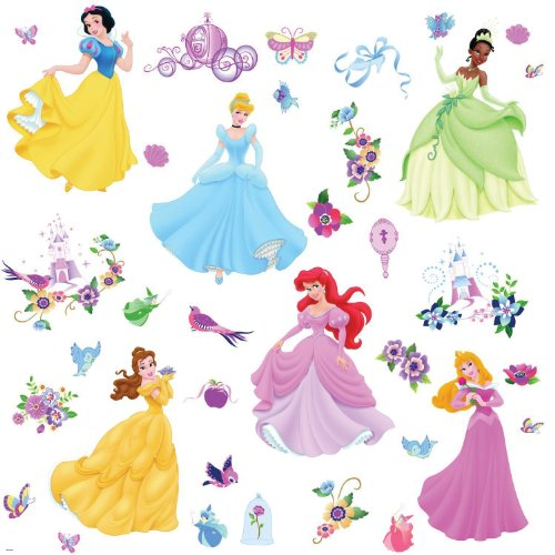 RoomMates 1470 Wandsticker Disney Princess mit Glitzersteinen