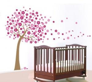 ATC Wandtattoo Wandaufkleber Wandbild pinke Blumen Baume DIY Dekosticker 60x90cm