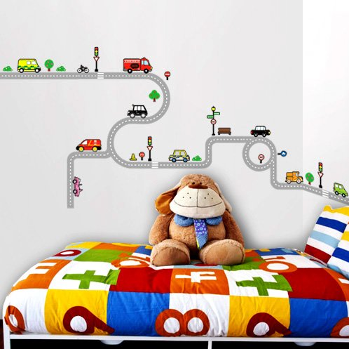 dw 1204 decowall stra en und autos wandstickers. Black Bedroom Furniture Sets. Home Design Ideas