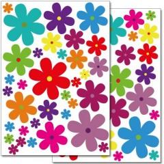 "Wandkings Wandsticker ""bunte Blumen - Design 3"" Sticker Set - 62 Aufkleber auf 2 DIN A4 Bögen"
