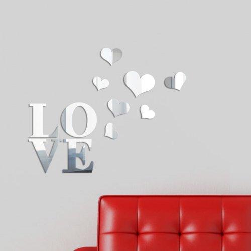 Spiegel Wandsticker * schnell - einfach - exklusiv * Wand Sticker Aufkleber Kunst Art Bild Wandtattoo * Love *