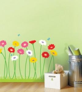 Fixpix, DK-0024, wachsende Blumen Wandaufkleber, Home Art Deko-Wandsticker / Wandtattoo / Wand Transfers / Wandtattoos / Wandtattoo