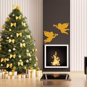 Wandsticker Weihnachtsengel 2 Stk fliegend mit Trompete 6 Größen und 26 Farben wählbar Nr A505-141