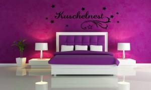 wandtattoo f r ihr schlafzimmer 68005 58x23 cm kuschelnest wandaufkleber aufkleber f r die. Black Bedroom Furniture Sets. Home Design Ideas