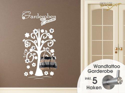 Wandtattoo Garderobe 5 Haken Wandhaken Deko für Flur Baum Blumen Ast Falter (Größe=115x57cm//Farbe=070 schwarz)