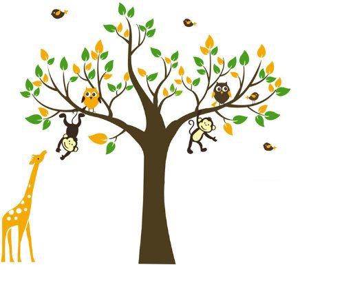 WallStickersDecal® Affe, Giraffe & Eule spielen auf Baum Wandtattoo Wandaufkleber 180cm(H)(große)