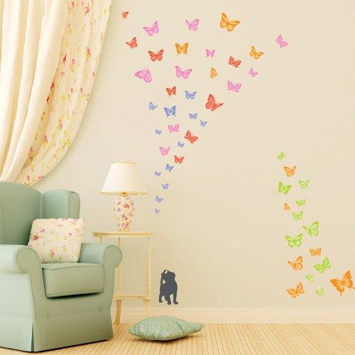 Decowall, DW-1305, 2 Kätzchen lieben Schmetterlinge Wandsticker
