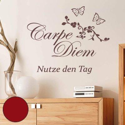 """A601 Wandtattoo """"Carpe Diem"""" 115cm x 99cm dunkelrot (erhältlich in 40 Farben und 3 Größen)"""