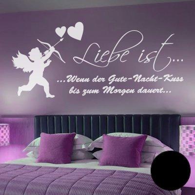 """A360 Wandtattoo """"Liebe ist... Gute Nacht Kuss"""" 152cm x 69cm schwarz (40 Farben und 3 Größen)"""
