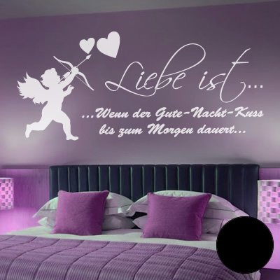 a360 wandtattoo liebe ist gute nacht kuss 152cm x. Black Bedroom Furniture Sets. Home Design Ideas
