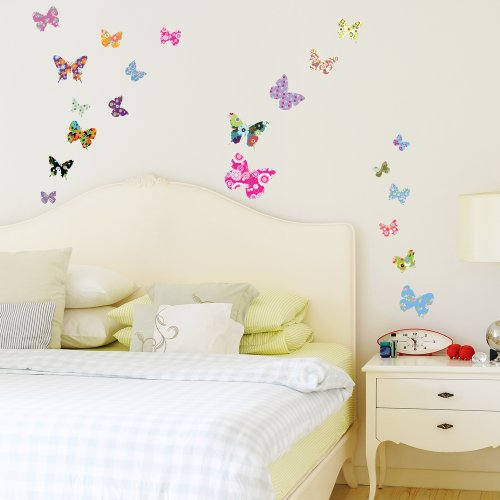 decowall dw 1201b 21 bunte schmetterlinge wandsticker wandtattoo wand transfers. Black Bedroom Furniture Sets. Home Design Ideas
