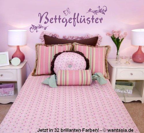 Wandtattoo fürs Schlafzimmer ~ Text: Bettgeflüster + Blumenranke und ...