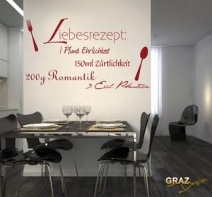 Wandtattoo Spruch Zitat Liebesrezept Deko für Küche Wanddeko für ...