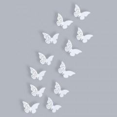 "Schmetterlings-Set - 12 wunderschöne Schmetterlinge in weiß als Wandtattoo""Ornament"" 3D"