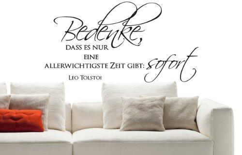 wandtattoo spr che w574 bedenke dass es nur eine leo tolstoi wohnzimmer 58x30 cm wei. Black Bedroom Furniture Sets. Home Design Ideas