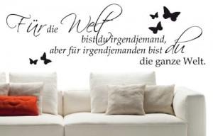 """Wandtattoo """"Für die Welt bist du"""" Schlafzimmer W152 (85x27 cm) schwarz"""