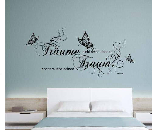 """greenluup ökologisches Wandtattoo in Schwarz Walt Disney Zitat """"Träume nicht dein Leben, sondern lebe deinen Traum."""" Schmetterlinge Blumen Blumenranke"""