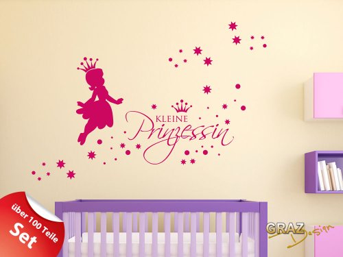 wandtattoo set kinderzimmer m dchen sterne spruch kleine prinzessin 100x57cm pink wandsticker. Black Bedroom Furniture Sets. Home Design Ideas