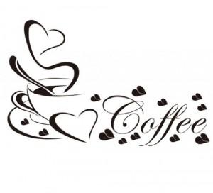 WandTattoo Spruch CAFE Herz COFFEE KAFFEE KÜHE 30 Farben 6 Größen zur Wahl wkf33 (070 schwarz, Größe 1:ca.36 x23cm)