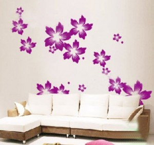 Wandaufkleber Wandtattoo Wandsticker Wanddekos Wallsticker Blumen Blüten KT137 (Lila)