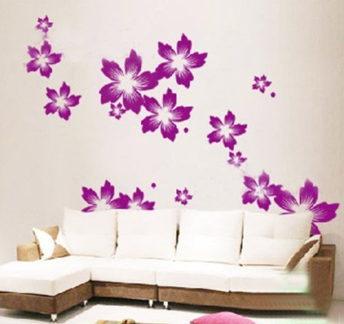 wandaufkleber wandtattoo wandsticker wanddekos wallsticker blumen bl ten kt137 lila. Black Bedroom Furniture Sets. Home Design Ideas