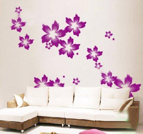 wandaufkleber wandtattoo wandsticker wanddekos wallsticker blumen blten kt137 lila - Wandtattoo Wohnzimmer Blumen