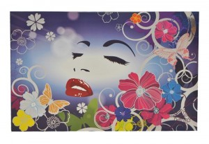XL Sticker 25,5 cm * 39 cm kürzbar - Hibiskus Blume Ranke Frau Schmetterlinge - Aufkleber Folie Glimmer Skin
