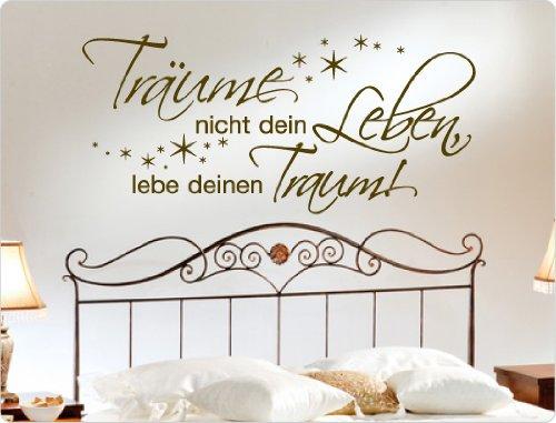 """I-love-Wandtattoo 10274 Wandtattoo Spruch """"Träume nicht dein Leben, lebe deinen Traum"""" Wanddekoration (Dunkelrot, 120 x 55 cm)"""