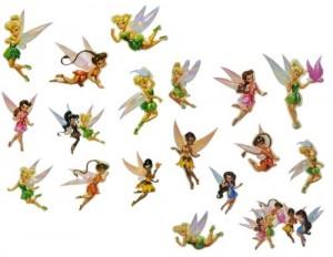 17 tlg. Set: 3-D Sticker / Fensterbild / Wandtattoo - Disney Fairies Tinkerbell - wasserfest - selbstklebend Pop-Up Aufkleber Wandsticker Fairy