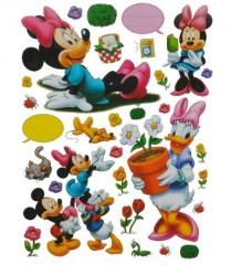 30 tlg. Set XL Sticker / Aufkleber Kinder Kind - Disney Minnie Mouse Daisy - Wasserfest Sticker rosa