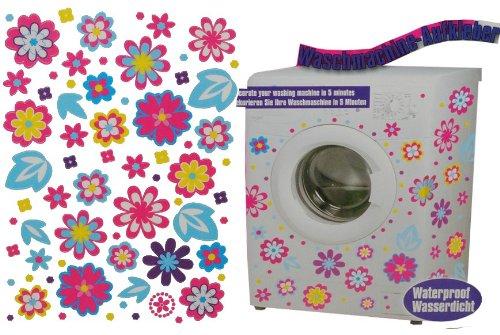 Aufkleber z.B. für Maschmaschine wasserfest - bunte Blumen 136 Stück - Sticker Tattoo Waschmaschinen