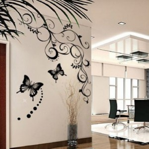 Zehui zwei Schmetterlinge Blume Wandaufkleber Haushalt Wandtattoo romantisch abnehmbare Wandsticker