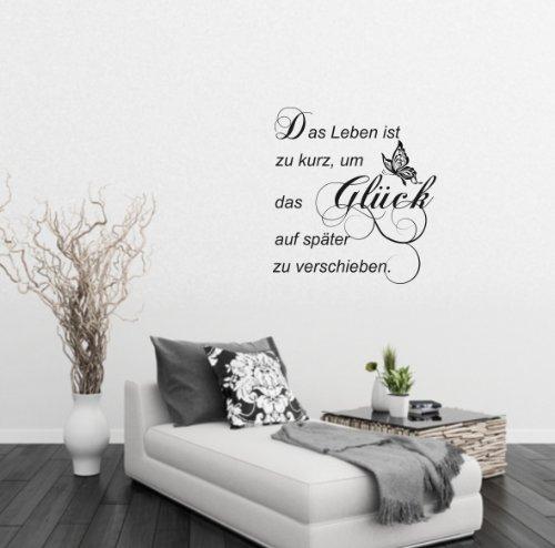 greenluup ökologisches Wandtattoo in Schwarz Ranke Ornament Spruch Glück Schmetterlinge