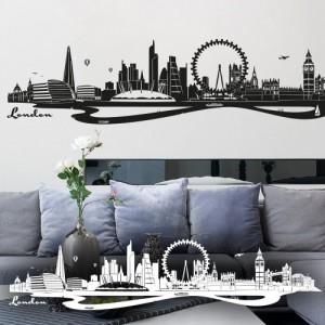 wandkings wandtattoo skyline london mit sehensw rdigkeiten und wahrzeichen der stadt 90 x 20. Black Bedroom Furniture Sets. Home Design Ideas