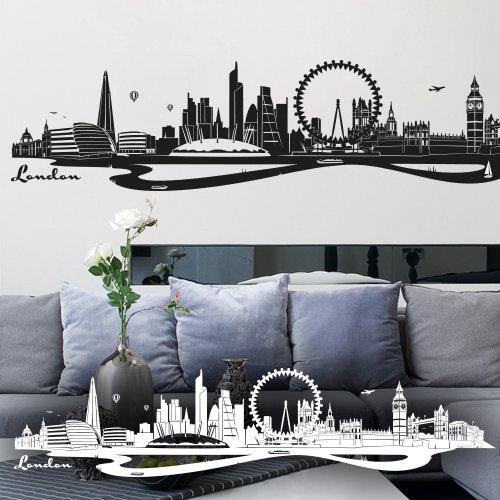 """Wandkings Wandtattoo """"Skyline London (mit Sehenswürdigkeiten und Wahrzeichen der Stadt)"""" 90 x 20 cm schwarz - erhältlich in 33 Farben"""