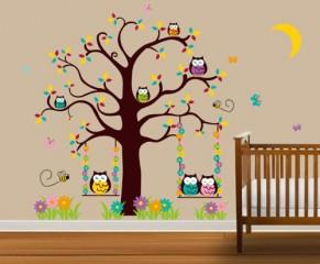 Wandtattoo Kinderzimmer Niedliche Eulen im Baum