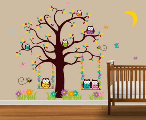 wandtattoo kinderzimmer niedliche eulen im baum. Black Bedroom Furniture Sets. Home Design Ideas