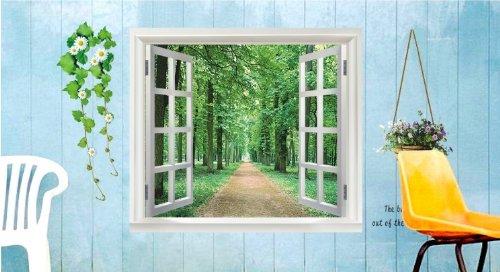 Sommer fenster forest abnehmbare schlafzimmer for Wandtattoo fenster