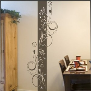 "Wandtattoo ""Adela"" florales Wandbanner inkl. Swarovski u. Rakel (ban04) 180 x 60 cm braun (in 42 Farben u. 3 Größen)"