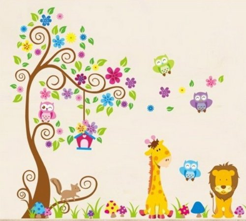 wandtattoo dschungel wald l we giraffe eichh rnchen eule auf bunten baum wandsticker f r. Black Bedroom Furniture Sets. Home Design Ideas