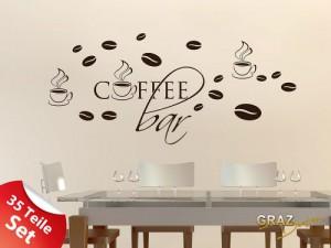 Wandtattoo Wandaufkleber Set für Küche Coffee Bar Kaffeebohnen Tassen 100x57cm Braun
