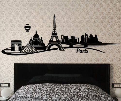 Wandtattoo Paris Skyline Wand Aufkleber Eiffelturm Frankreich City Stadt 1M093, Farbe:Rot glanz;Länge des Motives:160cm