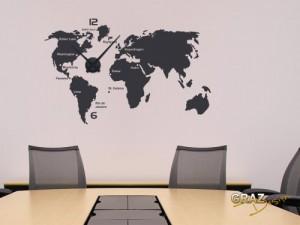 Wandtattoo Wanduhr Weltkarte mit Städten und allen Kontinenten ...